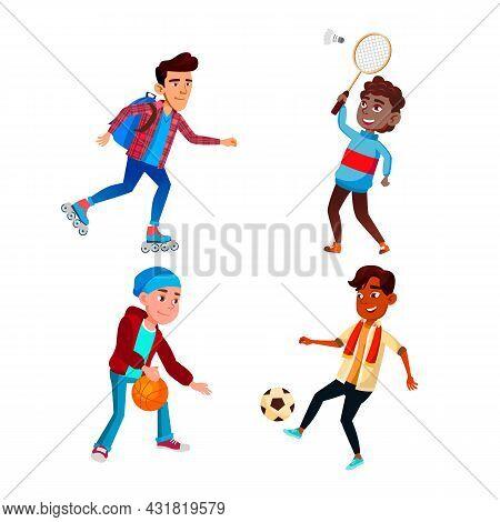 School Boys Sport Occupation Activity Set Vector. Schoolboys Riding Roller Skates, Playing Soccer Fo