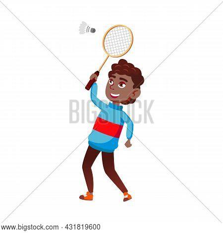 Schoolboy Playing Badminton On Playground Vector. African Happy School Boy Play Badminton With Racqu