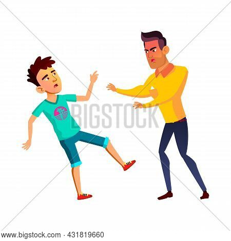Teenagers Boys Fighting With Aggression Vector. Guys Teens Fight With Aggression Outdoor, Angry Musc