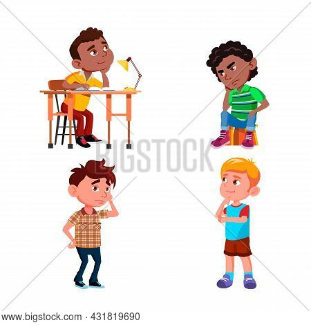 Thinking School Boys About Problem Set Vector. Schoolboys Sitting On Chair At Table And Standing Thi