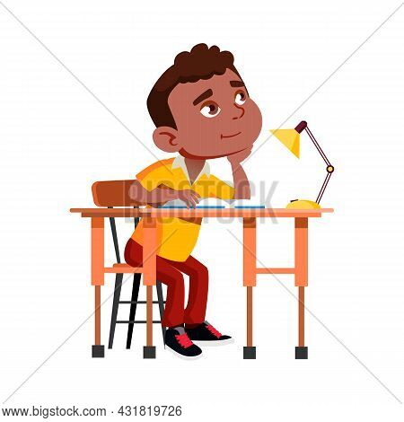 School Boy Sitting At Desk And Thinking Vector. Schoolboy Sit At Table, Making Homework Exercise And