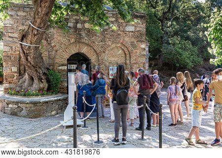 Ephesus, Turkey - June 4, 2021: Unidentified People Make A Pilgrimage To The House Of The Virgin Mar