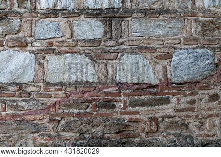 This Is A Fragment Of Antique Stonework And Brickwork Masonry.