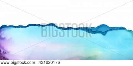 Art Abstract wave flow blots painting horizontal long background. Alcohol ink colors. Marble texture.