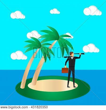 Business Risk And Survival Concept. A Businessman On A Tropical Island Looks Through A Spyglass. Vec