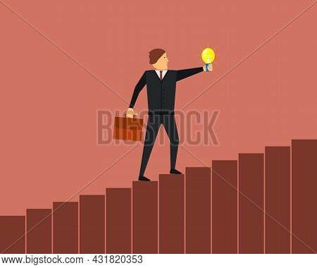 Оffice Worker, Employee Or Businessman In A Suit Is Climbing Career Ladder Up The Steps With A Light