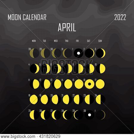 April 2022 Moon Calendar. Astrological Calendar Design. Planner. Place For Stickers. Month Cycle Pla