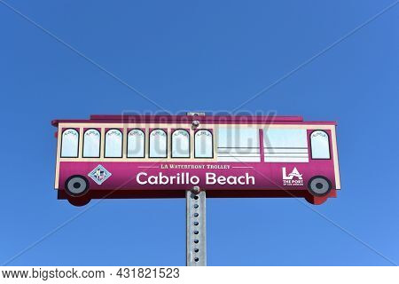 SAN PEDRO, CALIFORNIA - 27 AUG 2021: Sign for the LA Waterfront Trolley at Cabrillo Beach.