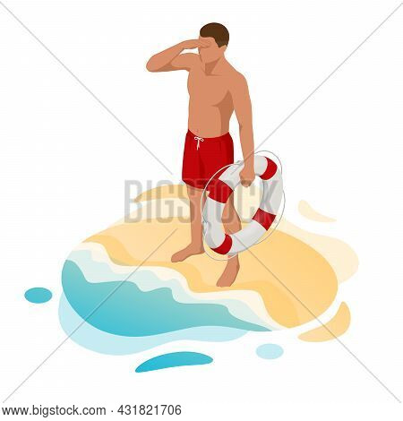 Isometric Handsome Male Lifeguard With Life Buoy At Sandy Beach. Lifeguard On The Beach. Safety Whil