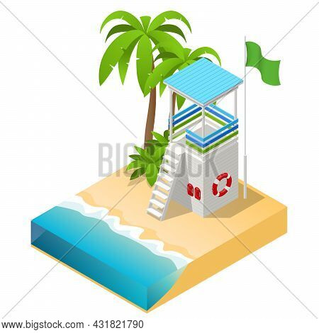 Isometric Watchtower On A Sandy Beach. Lifeguard On The Beach. Safety While Swimming.