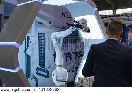 Close-up Robot Arm, High-tech Expo In Poland.