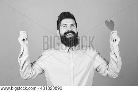 Guy Attractive With Beard And Mustache In Romantic Mood. Feeling Love. Dating And Relations Concept.