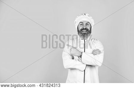 Cook Delicious Recipe. Culinary And Cuisine. Healthy Food Cooking. Bearded Man Chef Uniform. Bearded