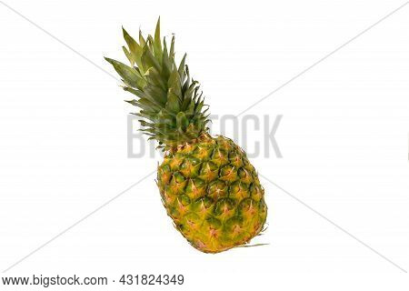 Pineapple Fruit Isolated On White Background. Ripe Pineapple Isolated On White Background