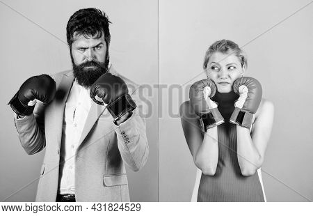 Family Life. Complicated Relationships. Couple Romantic Relationships. Boxers Fighting Gloves. Diffi