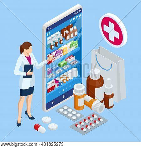 Isomtric Buy Medicaments And Drugs Online. Healthcare Online Pharmacy App. Concept Online Drugstore.