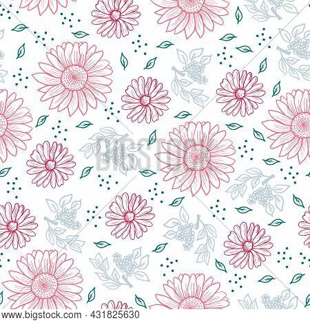 Cute Floral Pattern Of Small Flowers. Ditsy Print . Seamless Vector Texture. Elegant Template For Fa