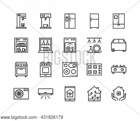 Household Appliances Flat Line Icons Set. Home Gas Oven Hob, Induction Cooktop, Fridge, Oven, Refrig