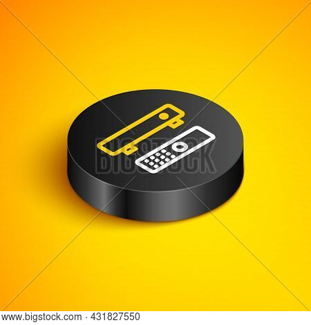 Isometric Line Multimedia And Tv Box Receiver And Player With Remote Controller Icon Isolated On Yel