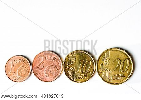 Euro Cents In Ascending Order, On A White Background, Business, Savings.