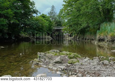 The Water Of Fleet River At Gatehouse Of Fleet, During Low Water And A Summer Drought, Dumfries And