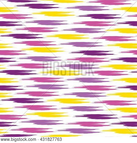Cute Seamless Pattern On A White Background. Multicolored Stripes In Different Sizes.