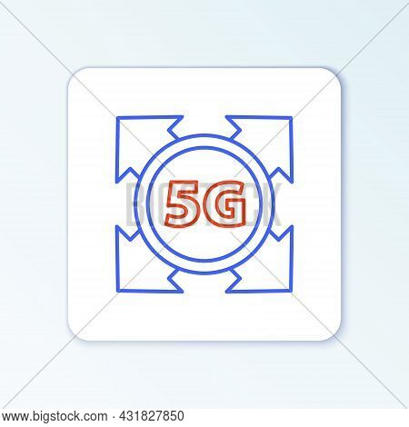 Line 5g New Wireless Internet Wifi Connection Icon Isolated On White Background. Global Network High