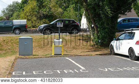 Gatehouse Of Fleet, Scotland, August 15th 2021: Electric Vehicle Charging Point At A Car Park In Gat