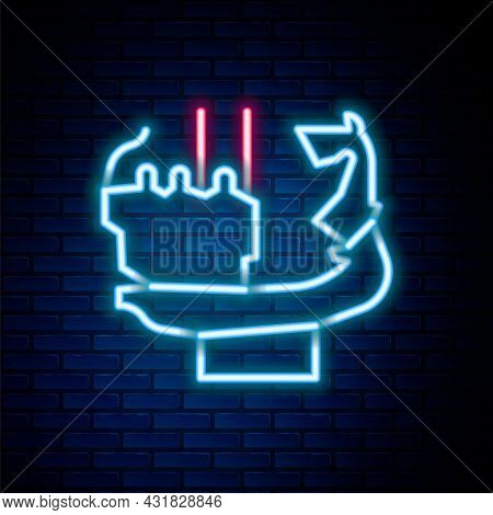 Glowing Neon Line Monument To Founders Of Kiev Icon Isolated On Brick Wall Background. Statue Of Kyi