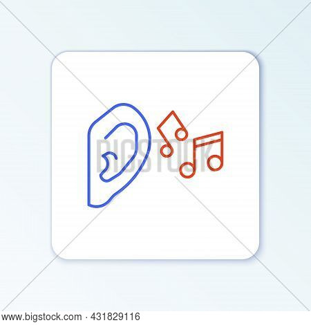 Line Ear Listen Sound Signal Icon Isolated On White Background. Ear Hearing. Colorful Outline Concep