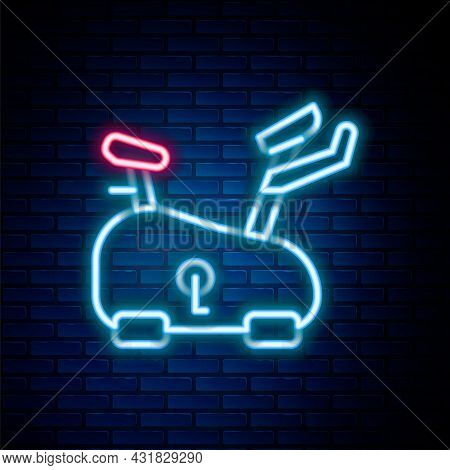 Glowing Neon Line Stationary Bicycle Icon Isolated On Brick Wall Background. Exercise Bike. Colorful