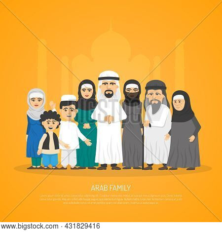 Poster Presenting Arab Family From Grandparents To Kids In Traditional Arabic Clothing Cartoon Vecto