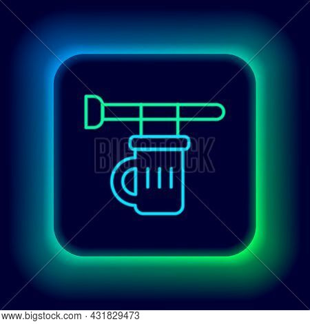 Glowing Neon Line Street Signboard With Glass Of Beer Icon Isolated On Black Background. Suitable Fo