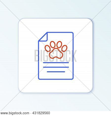Line Clipboard With Medical Clinical Record Pet Icon Isolated On White Background. Health Insurance