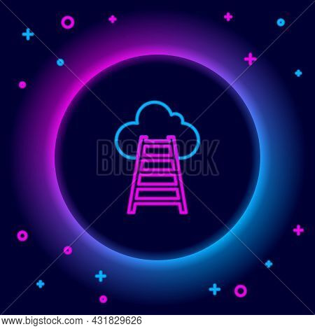Glowing Neon Line Stair With Finish Flag Icon Isolated On Black Background. Career Growth Business C
