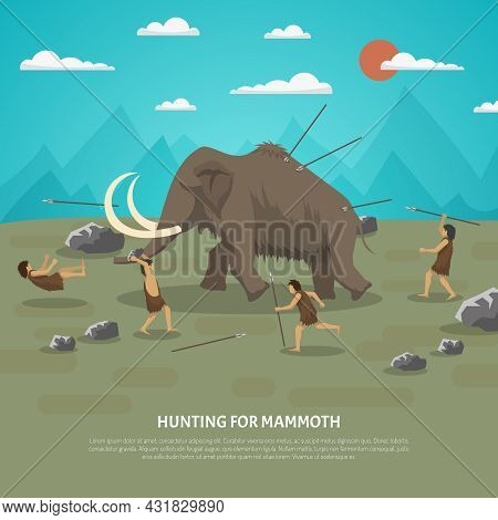 Color Illustration Showing Hunting For Mammoth Caveman In Prehistoric Stone Age With Title Vector Il