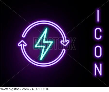 Glowing Neon Line Recharging Icon Isolated On Black Background. Electric Energy Sign. Colorful Outli