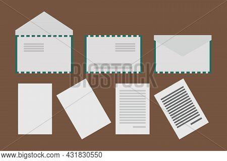 White Envelopes, Papers, And Letters Symbols Vector Illustration. Paper Documents, And Envelopes. De