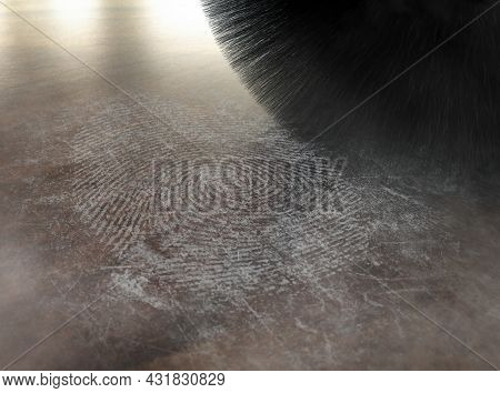 A Crime Scene Brush Dusting Talcum Powder Revealing And A Fingerprint Mark On A Wooden Surface - 3d