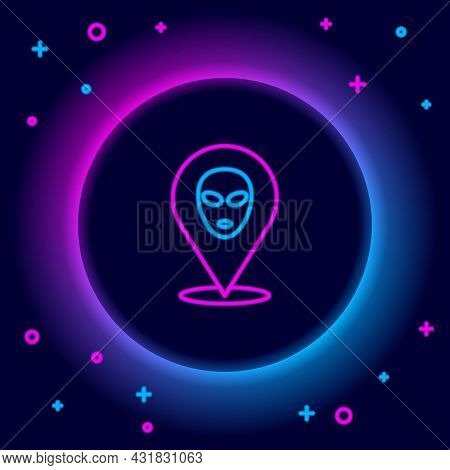 Glowing Neon Line Alien Icon Isolated On Black Background. Extraterrestrial Alien Face Or Head Symbo