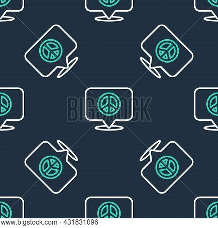 Line Location Peace Icon Isolated Seamless Pattern On Black Background. Hippie Symbol Of Peace. Vect