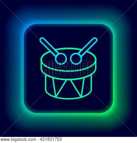 Glowing Neon Line Musical Instrument Drum And Drum Sticks Icon Isolated On Black Background. Colorfu
