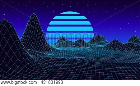 Retro Fantastic Background Of The 80s. Vector Mountain Wireframe Landscape With Night Sky And Sunset