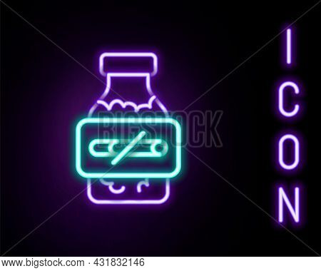 Glowing Neon Line Nicotine Gum In Blister Pack Icon Isolated On Black Background. Helps Calm Craving