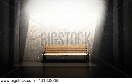 A Concept Of A Wood And Iron Park Bench In A Concrete Chamber Spotlit By An Overhead Light - 3d Rend