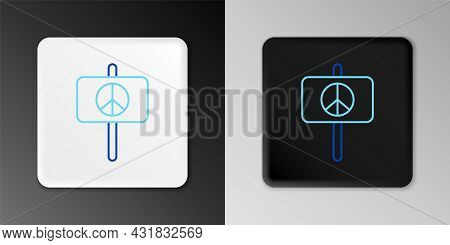 Line Peace Icon Isolated On Grey Background. Hippie Symbol Of Peace. Colorful Outline Concept. Vecto