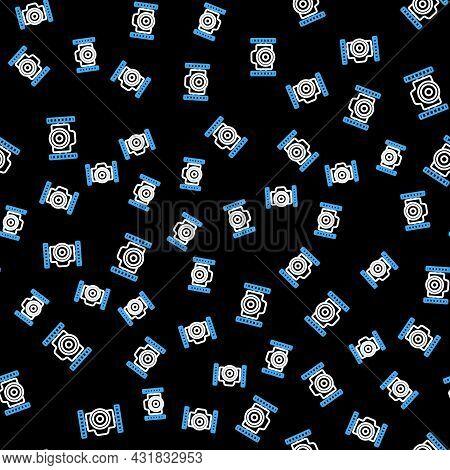 Line Photo Camera For Diver Icon Isolated Seamless Pattern On Black Background. Foto Camera Icon. Di