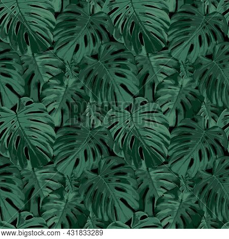 Tropical Leaves Seamless Pattern. Realistic Vector Background With Rain Forest Nature, Green Monster