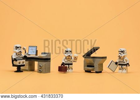 Group Of Stormtroopers Working And Communicating Together In Creative Office. Illustrative Editorial
