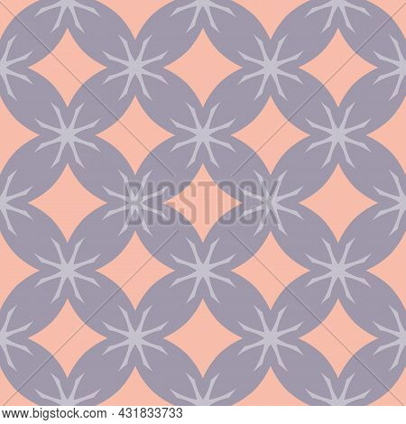 Simple Vector Floral Geometric Seamless Pattern. Elegant Ornament Texture With Flower Silhouettes, D